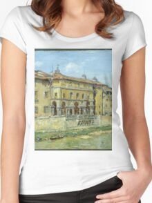 William Merritt Chase - Florence 1907. Urban landscape: city view, streets, building, house, Florence, cityscape, architecture, construction, travel , panorama, buildings Women's Fitted Scoop T-Shirt