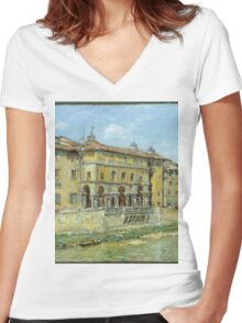 William Merritt Chase - Florence 1907. Urban landscape: city view, streets, building, house, Florence, cityscape, architecture, construction, travel , panorama, buildings Women's Fitted V-Neck T-Shirt