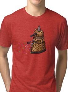 Birthday Dalek - Pixel Art Tri-blend T-Shirt