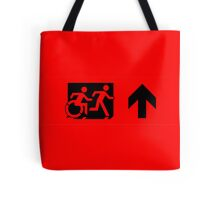 Accessible Means of Egress Icon and Running Man Emergency Exit Sign, Right Hand Up Arrow Tote Bag