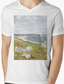 William Merritt Chase - Idle Hours. Picnic painting: picnic time, woman, holiday, people, family, travel, garden, relaxation, rest, game, picnic Mens V-Neck T-Shirt