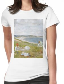 William Merritt Chase - Idle Hours. Picnic painting: picnic time, woman, holiday, people, family, travel, garden, relaxation, rest, game, picnic Womens Fitted T-Shirt