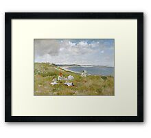 William Merritt Chase - Idle Hours. Picnic painting: picnic time, woman, holiday, people, family, travel, garden, relaxation, rest, game, picnic Framed Print