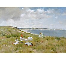 William Merritt Chase - Idle Hours. Picnic painting: picnic time, woman, holiday, people, family, travel, garden, relaxation, rest, game, picnic Photographic Print