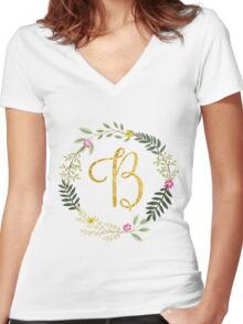 Floral and Gold Initial Monogram B Women's Fitted V-Neck T-Shirt