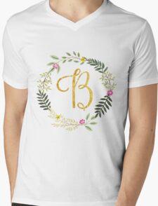 Floral and Gold Initial Monogram B Mens V-Neck T-Shirt