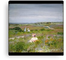 William Merritt Chase - Landscape Shinnecock, Long Island. Picnic painting: picnic time, woman, holiday, people, family, travel, garden, relaxation, rest, game, picnic Canvas Print