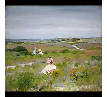 William Merritt Chase - Landscape Shinnecock, Long Island. Picnic painting: picnic time, woman, holiday, people, family, travel, garden, relaxation, rest, game, picnic Photographic Print
