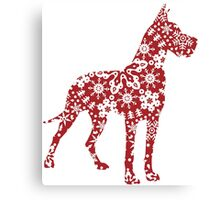 Great Dane Christmas Snowflakes Canvas Print
