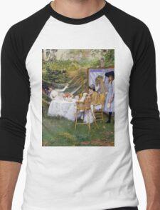 William Merritt Chase - Open Air Breakfast 1888. Country landscape: village, rustic, aristocrats, Open Air, Breakfast, contented, garden, relaxation, life, rest, hammock  Men's Baseball ¾ T-Shirt