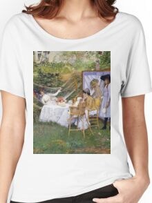William Merritt Chase - Open Air Breakfast 1888. Country landscape: village, rustic, aristocrats, Open Air, Breakfast, contented, garden, relaxation, life, rest, hammock  Women's Relaxed Fit T-Shirt