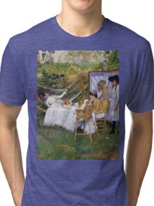 William Merritt Chase - Open Air Breakfast 1888. Country landscape: village, rustic, aristocrats, Open Air, Breakfast, contented, garden, relaxation, life, rest, hammock  Tri-blend T-Shirt