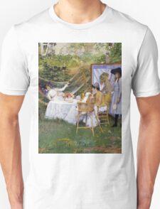 William Merritt Chase - Open Air Breakfast 1888. Country landscape: village, rustic, aristocrats, Open Air, Breakfast, contented, garden, relaxation, life, rest, hammock  Unisex T-Shirt