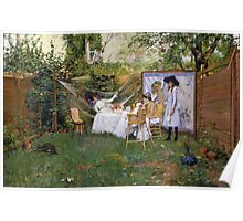 William Merritt Chase - Open Air Breakfast 1888. Country landscape: village, rustic, aristocrats, Open Air, Breakfast, contented, garden, relaxation, life, rest, hammock  Poster