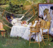 William Merritt Chase - Open Air Breakfast 1888. Country landscape: village, rustic, aristocrats, Open Air, Breakfast, contented, garden, relaxation, life, rest, hammock  Sticker