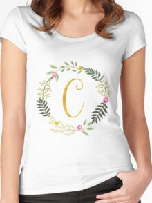 Floral and Gold Initial Monogram C Women's Fitted Scoop T-Shirt