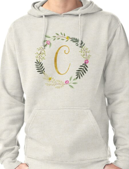 Floral and Gold Initial Monogram C Pullover Hoodie