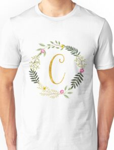 Floral and Gold Initial Monogram C Unisex T-Shirt
