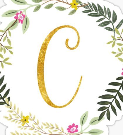 Floral and Gold Initial Monogram C Sticker