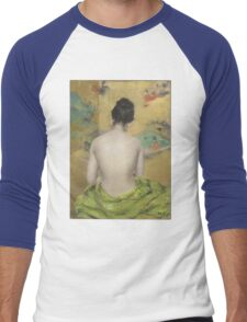 William Merritt Chase - Study Of Flesh Color And Gold 1888. Woman portrait: model,  nude,  nudity ,  naked,  woman ,  naked back,  undressed,  body woman , love, sexy lady, erotic pose Men's Baseball ¾ T-Shirt