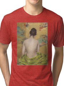 William Merritt Chase - Study Of Flesh Color And Gold 1888. Woman portrait: model,  nude,  nudity ,  naked,  woman ,  naked back,  undressed,  body woman , love, sexy lady, erotic pose Tri-blend T-Shirt
