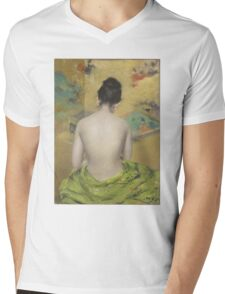 William Merritt Chase - Study Of Flesh Color And Gold 1888. Woman portrait: model,  nude,  nudity ,  naked,  woman ,  naked back,  undressed,  body woman , love, sexy lady, erotic pose Mens V-Neck T-Shirt
