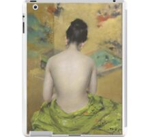 William Merritt Chase - Study Of Flesh Color And Gold 1888. Woman portrait: model,  nude,  nudity ,  naked,  woman ,  naked back,  undressed,  body woman , love, sexy lady, erotic pose iPad Case/Skin