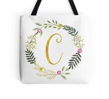 Floral and Gold Initial Monogram C Tote Bag