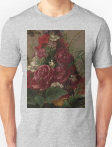 William Merritt Chase - Still Life With Humming bird 1870. Still life with flowers: still life with flowers, flowers, blossom, nature,  bird , floral, roses,  flora, flower, garden, vase Unisex T-Shirt