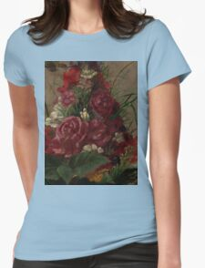 William Merritt Chase - Still Life With Humming bird 1870. Still life with flowers: still life with flowers, flowers, blossom, nature,  bird , floral, roses,  flora, flower, garden, vase Womens Fitted T-Shirt
