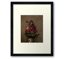 William Merritt Chase - Still Life With Humming bird 1870. Still life with flowers: still life with flowers, flowers, blossom, nature,  bird , floral, roses,  flora, flower, garden, vase Framed Print