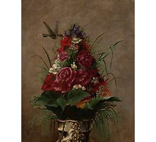 William Merritt Chase - Still Life With Humming bird 1870. Still life with flowers: still life with flowers, flowers, blossom, nature,  bird , floral, roses,  flora, flower, garden, vase Photographic Print