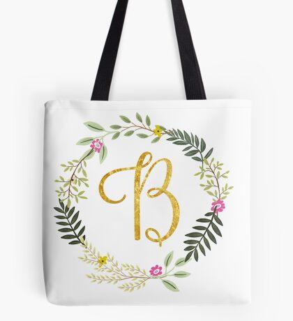 Floral and Gold Initial Monogram B Tote Bag