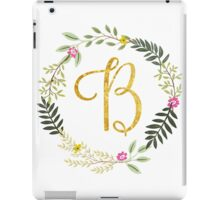 Floral and Gold Initial Monogram B iPad Case/Skin