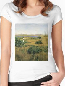 William Merritt Chase - Summer At Shinnecock Hills. Country landscape: Summer , country, travel, garden, rustic, relaxation, rest, game, trees, sun, flowers Women's Fitted Scoop T-Shirt