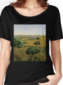 William Merritt Chase - Summer At Shinnecock Hills. Country landscape: Summer , country, travel, garden, rustic, relaxation, rest, game, trees, sun, flowers Women's Relaxed Fit T-Shirt