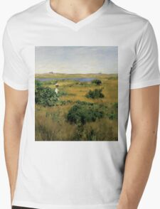 William Merritt Chase - Summer At Shinnecock Hills. Country landscape: Summer , country, travel, garden, rustic, relaxation, rest, game, trees, sun, flowers Mens V-Neck T-Shirt