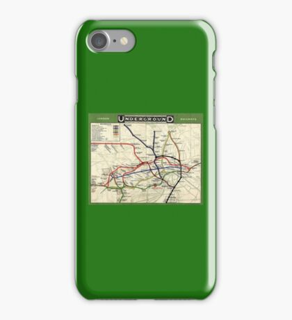TUBE, UNDERGROUND, MAP, 1908, London, Historic, UK, GB, England, on Green iPhone Case/Skin