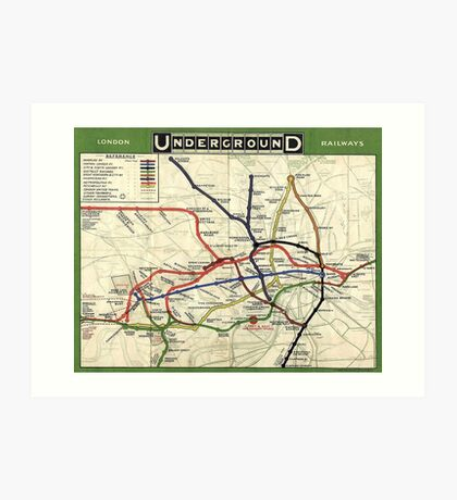 TUBE, UNDERGROUND, MAP, 1908, London, Historic, UK, GB, England, on Green Art Print