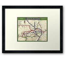 TUBE, UNDERGROUND, MAP, 1908, London, Historic, UK, GB Framed Print