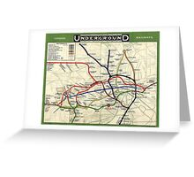 TUBE, UNDERGROUND, MAP, 1908, London, Historic, UK, GB Greeting Card