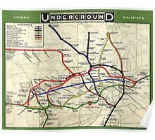 TUBE, UNDERGROUND, MAP, 1908, London, Historic, UK, GB, England, on Green Poster