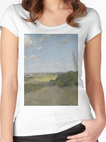William Merritt Chase - Sunlight And Shadow, Shinnecock Hills. Field landscape: field landscape, nature, village, garden, flowers, trees, sun, rustic, countryside, sky and clouds, summer Women's Fitted Scoop T-Shirt