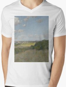 William Merritt Chase - Sunlight And Shadow, Shinnecock Hills. Field landscape: field landscape, nature, village, garden, flowers, trees, sun, rustic, countryside, sky and clouds, summer Mens V-Neck T-Shirt