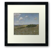 William Merritt Chase - Sunlight And Shadow, Shinnecock Hills. Field landscape: field landscape, nature, village, garden, flowers, trees, sun, rustic, countryside, sky and clouds, summer Framed Print