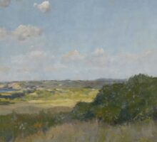William Merritt Chase - Sunlight And Shadow, Shinnecock Hills. Field landscape: field landscape, nature, village, garden, flowers, trees, sun, rustic, countryside, sky and clouds, summer Sticker