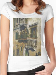 William Merritt Chase - Venice 1877. House landscape: city view, streets, building, balcony, window, cityscape, architecture, construction, travel , panorama, buildings Women's Fitted Scoop T-Shirt