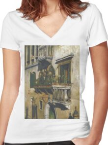William Merritt Chase - Venice 1877. House landscape: city view, streets, building, balcony, window, cityscape, architecture, construction, travel , panorama, buildings Women's Fitted V-Neck T-Shirt