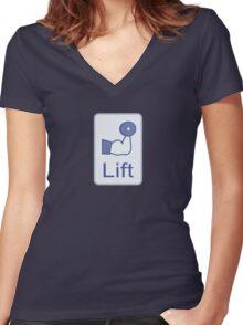Lift  (vertical logo) Women's Fitted V-Neck T-Shirt