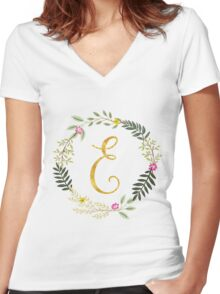 Floral and Gold Initial Monogram E Women's Fitted V-Neck T-Shirt